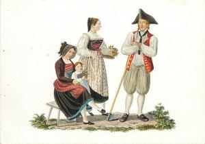 Switzerland swiss early folk costumes ethnic types Zurich