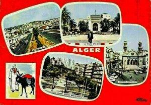 Algeria Avenue Square Gumain Mosquee Khechaqua Postcard