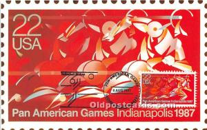 Pan American Games 1987 Indianapolis, Indiana, IN, USA 1987 Stamp on front