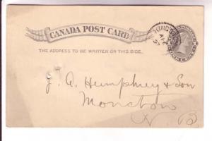 Canadian Postal Stationary, Victoria, 1 Cent Black, Kingston New Brunswick 18...