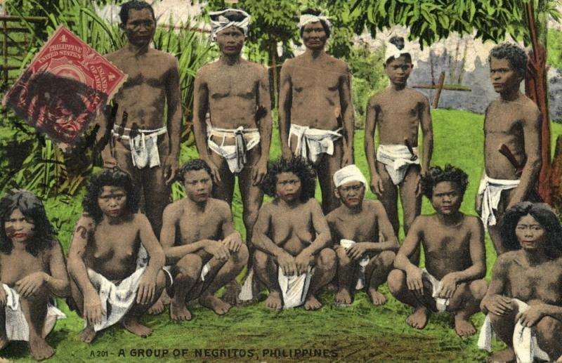 philippines, Group of Native Negritos, Nude Women and Armed Warriors (1910s)