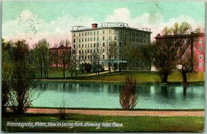 Minneapolis, MN Postcard HOTEL PLAZA View from Loring Park - 1908 RPO Cancel