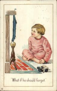 Christmas - Boy at Fireplace WHAT IF HE SHOULD FORGET c1910 Postcard rpx