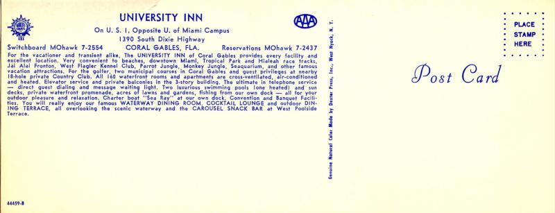 FL - Coral Gables. University Inn  (3.5 X 9).