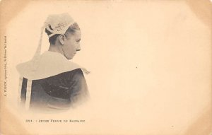 Young Woman France Native Costume Unused
