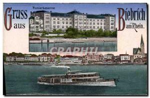 Old Postcard Gruss aus Biebrich Boat