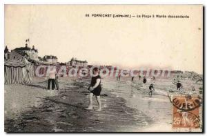 Postcard Old Pornichet La Plage Maree Descending