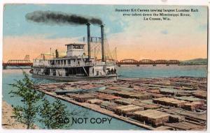 Steamer Kit Carson, Lumber Raft, La Crosse Wis