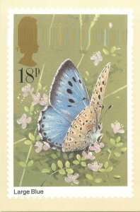 British stamp on Postcard Butterflies Large Blue by Gordon Beningfield
