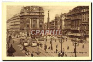 Old Postcard Brussels Place de Brouckere and Anspach Monument