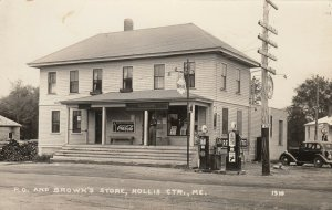 RP: HOLLIS CTR , Maine , 1920-30s ; P.O., Brown's Store, Gas Station