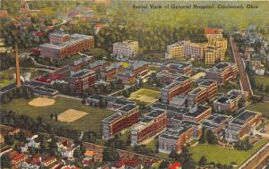 Cincinnati Ohio~General Hospital Aerial View~Tall Smoke Stack~1940s Linen Pc