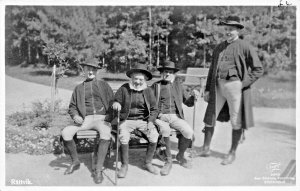 RATTVIK SWEDEN-GROUP OF MEN IN NATIONAL COSTUMES-PHOTO POSTCARD