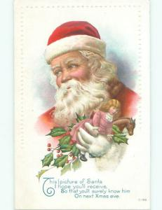 Pre-Linen christmas SANTA WITH DOLL AND TOY HORSE W7253