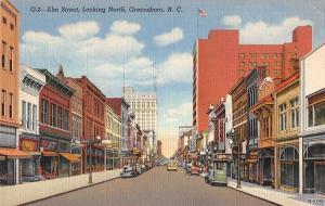 Greensboro North Carolina Elm Street Looking North Antique Postcard V15825