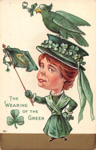 The Wearing of the Green young lady in green shamrock bird antique pc BB1123