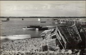 Pine PoInt ME Lobsterman Gear Lobster Traps c1940s-60s Real Photo Postcard