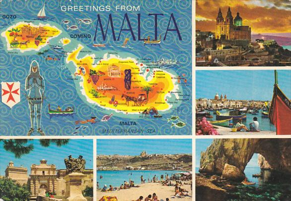 Greetings From Malta Map and Multi View