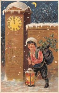 Victorian New Year~Boy w/ Lantern~Midnight Pillar Clock~Crescent Moon~Emboss~MAB