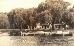 White Lake Michigan~Lakeside Inn Cottages~Kids Swim From Dock~1930s RPPC