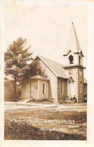 H4/ Breckenridge Michigan RPPC Postcard 1910 M.E. Church Building 7