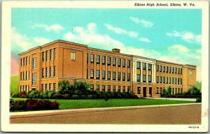 Elkins, West Virginia Postcard ELKINS HIGH SCHOOL Building View - Curteich