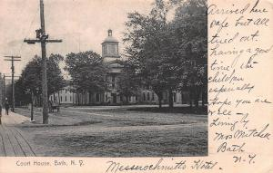 Court House, Bath, New York,  Early Postcard, Used in 1907