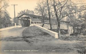Granogue Delaware~Smith's Covered Bridge~Front & Side~1940s Sepia Litho Photolux