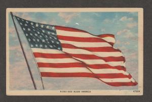 GOD BLESS AMERICA FLAG Vintage POST CARD PATRIOTIC