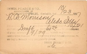 F73/ Rushville Indiana Postcard 1897 Innis Pearce & Co Furniture Store Bill