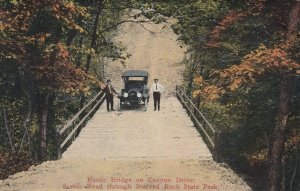 STARVED ROCK State Park, Illinois, 1900-10s; Rustic Bridge on Canyon Drive