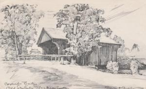 Covered Bridge Old Sturbridge Village MA Massachusetts a/s Overly pm 1954