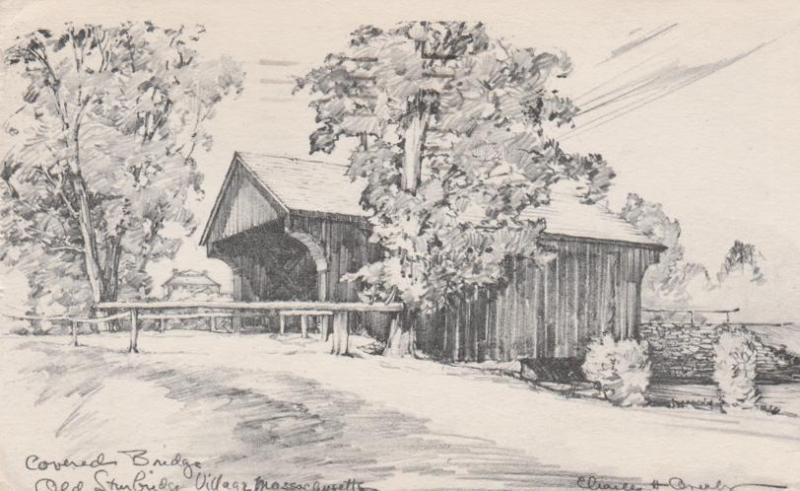 Covered Bridge Old Sturbridge Village MA Massachusetts a/s Overly pm 1954