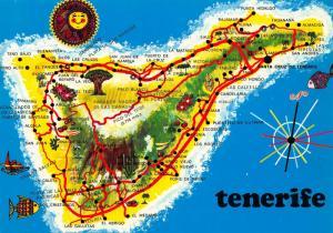 Spain Tenerife Mapa de la Isla Las Cruces San Juan de La Rambla Postcard