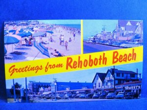 Postcard DE Rehoboth Beach Multiview Greetings 1950's Old Cars Streetview #2