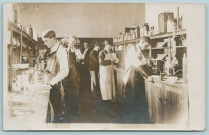 RPPC~Chemistry Students w/Teacher in Lab Do Experiments~Microscope~Beekers~1910