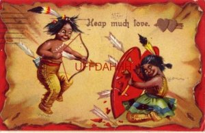 1910 VALENTINE - HEAP MUCH LOVE - shooting arrows into her heart - Embossed