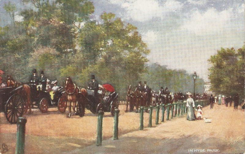 Horses. In Hyde Park, London Tuck Oilette Postcard # 7180