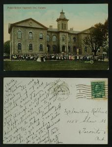 Public School Ingersoll Ont children in front  pmk 1914