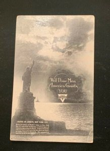 1919 WWI Well Done Men America Greets You YMCA Statue Liberty Postcard WW1