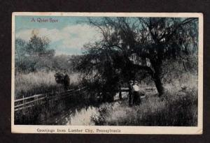 PA Vintage Antique Greetings From LUMBER CITY PENNSYLVANIA PENN 1916 Postcard