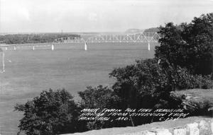 Hannibal Missouri~Mark Twain Toll Free Memorial Bridge @ Riverview Park~40s RPPC