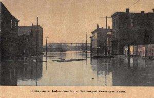 Logansport Indiana Flood Disaster Submerged Train Vintage Postcard JJ649076