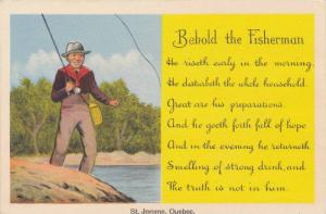Comic: Behold the Fisherman, Lying Man in Hip Waders w/ Fly Fishing Rod, St. ...