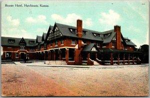 Vintage Hutchinson, Kansas Postcard BISONTE HOTEL Street View w/ 1909 Cancel