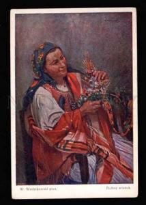 022536 POLISH girl w/ flowers by Wodzinowski Vintage PC