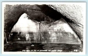 RPPC  SHOSHONE ICE CAVES, ID Idaho ~ END WALL OF ICE c1940s Real Photo Postcard