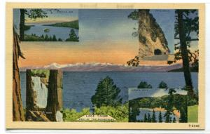 Lake Tahoe Nevada Multi View linen postcard