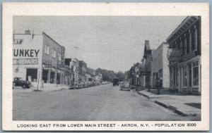 AKRON NY MAIN STREET 1958 VINTAGE POSTCARD