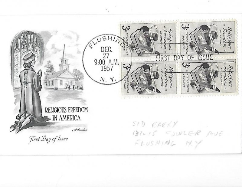 Religious Freedom in America 4 Three Cent Stamps First Day Issue 12-27-1957